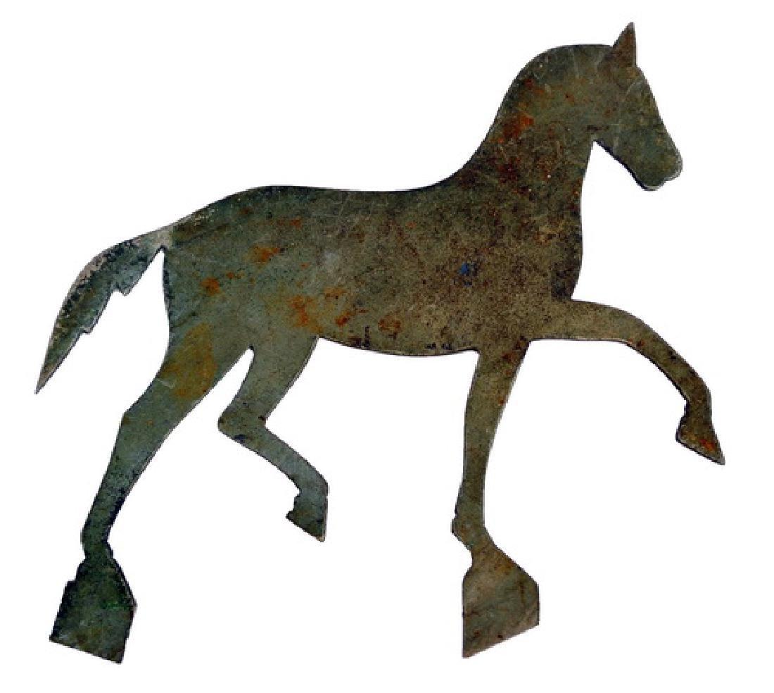 Folk Art Pair of Prancing Horse Cutouts Old Patina