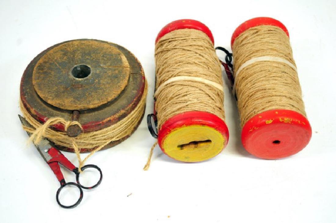 Three Antique Hand Painted Thread Spools/Scissors