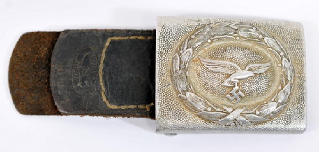 WWII Nazi Luftwaffe Belt Buckle With Leather Tab