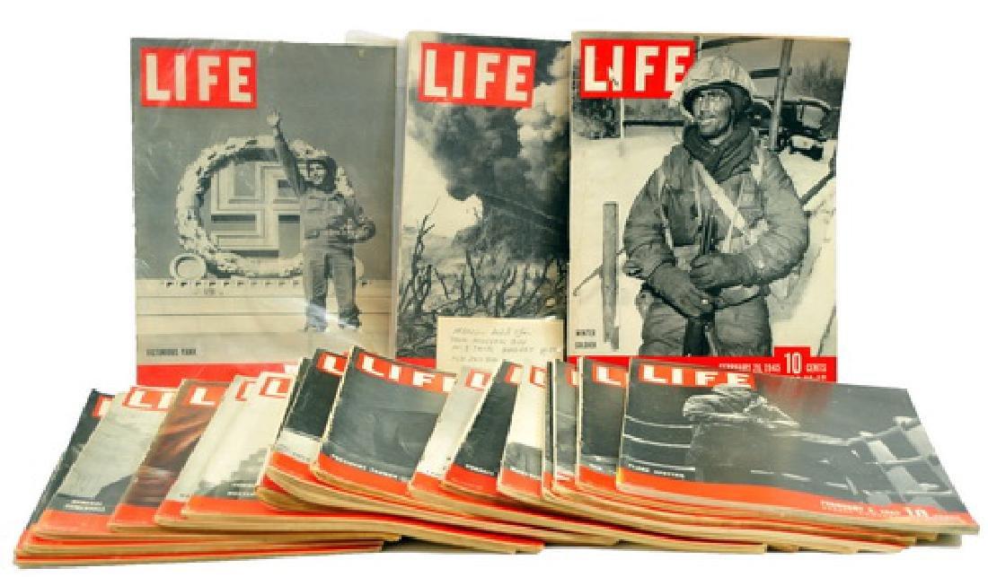 20 WWII Era Life Magazines Military Scenes