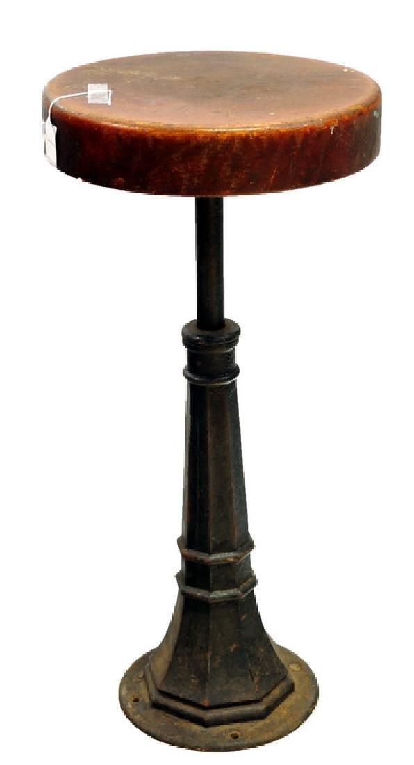Antique Oak Cast Iron Bar Stool