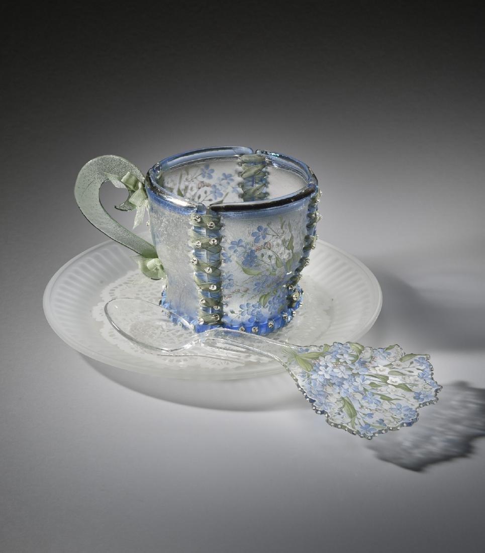 Susan T Glasgow Cup Saucer Spoon Art Glass Habatat