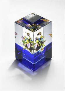 Paul Stankard Pink Lady Bouq Cube Art Glass Habatat