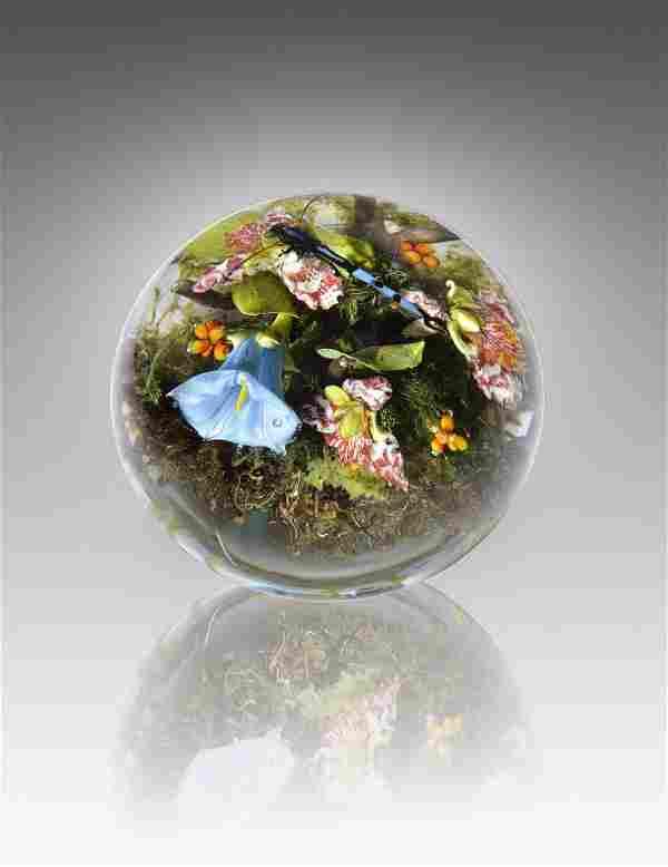 Paul Stankard Morning Glory Orchid Habatat Glass