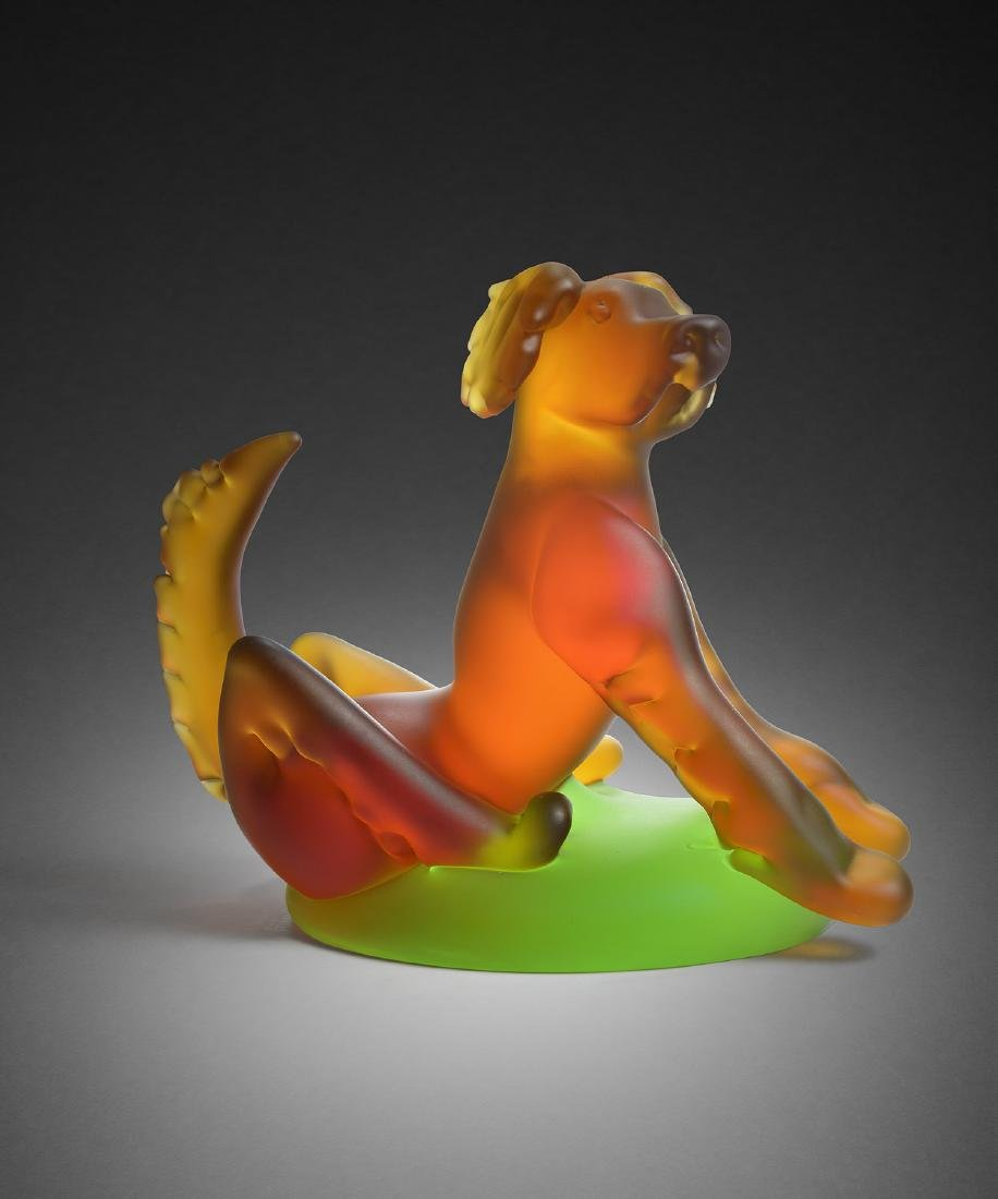 Richard Jolley Sitting Dog Habatat Art Glass