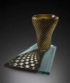 Michael Glancy Whirling Golden Reflex '88 Art Glass