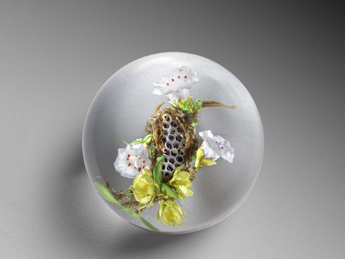 Paul Stankard Honeycomb Habitat Paperweight Glass