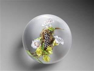 Paul Stankard Honeycomb Habitat Paperweight Glass