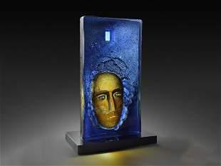 Bertil Vallien Man 05 2005 Art Glass Habatat Blue Cast
