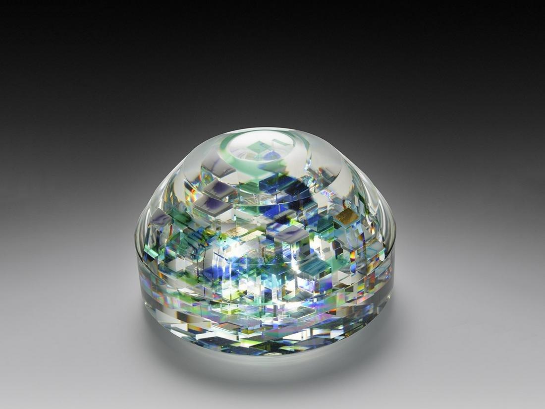 Jon Kuhn Untitled Blue Paperweight 2004 Art Glass