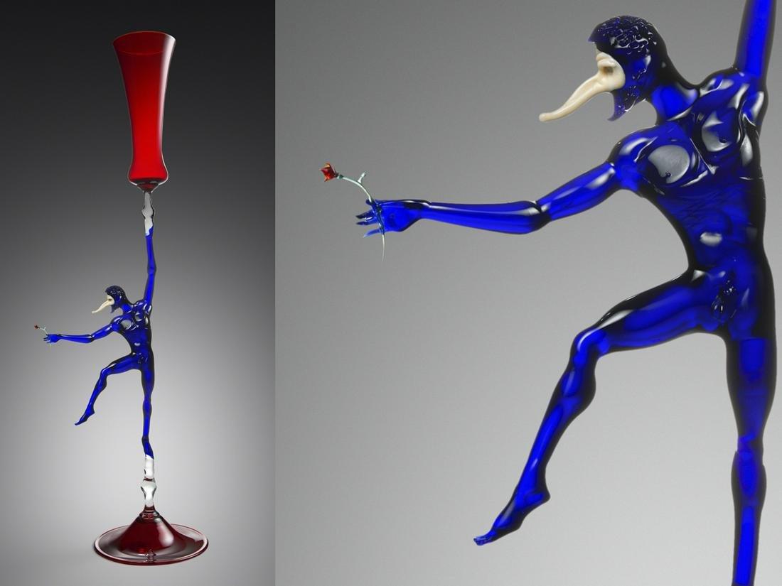 Lucio Bubacco Jester Goblet 1996 Art Glass Habatat