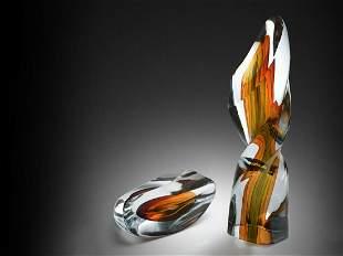 Harvey Littleton Amber & Blue Rotation 1981 Art Glass