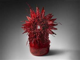 Laura Donefer Red Amulet Basket 2000 Art Glass Habatat