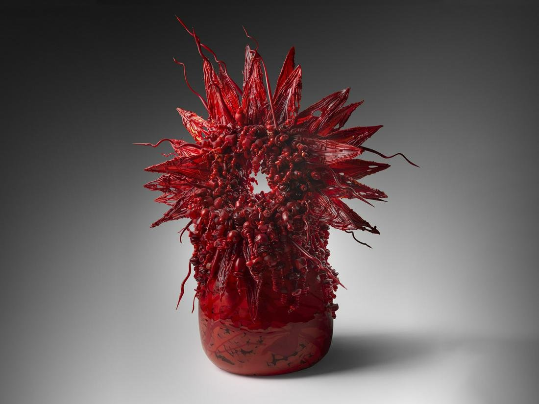 Laura Donefer Red Amulet Basket 2000 Art Glass Habatat