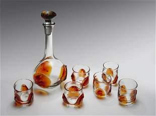 Dominic Labino Decanter with 6 Glasses 1971 Art Glass