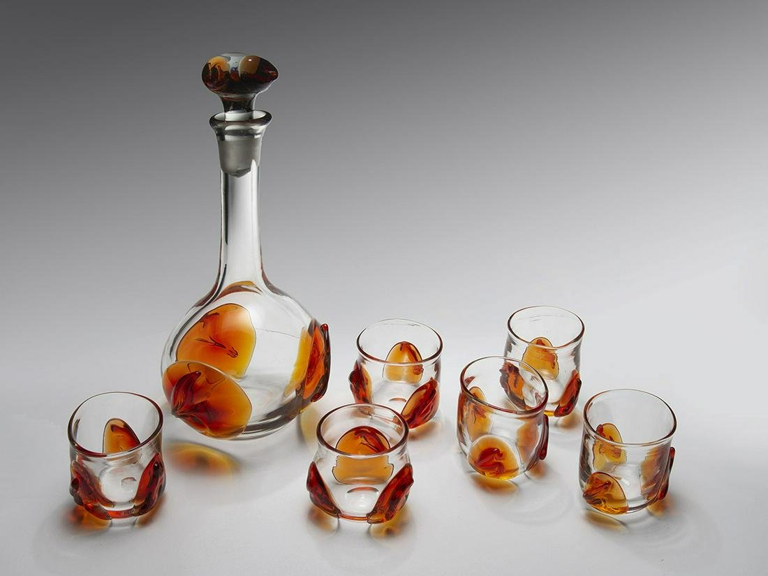 Dominic Labino Decanter with 6 Glasses 1971 Art Glass