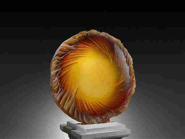 Alex Bernstein Amber Disk 2007 Art Glass Habatat
