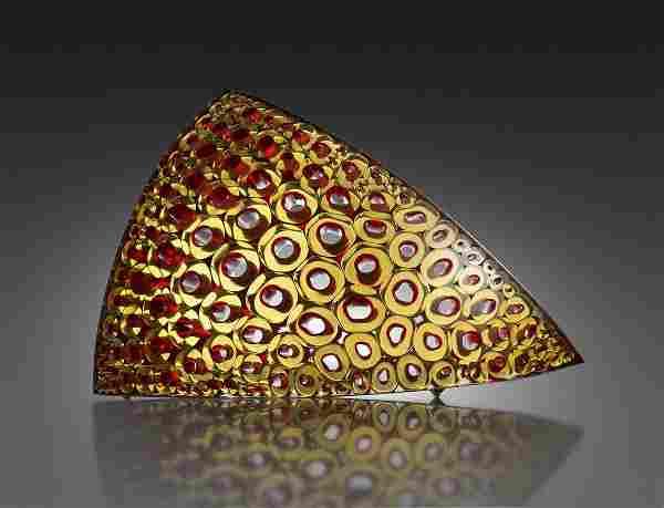 Matthew Curtis Amber & Red Phloem Art Glass Habatat