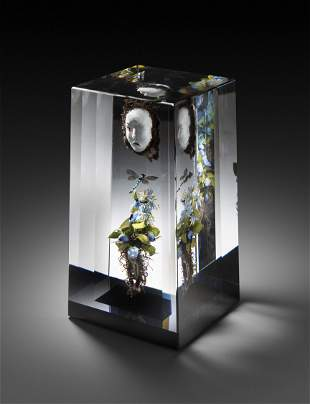 Paul Stankard Cube Paperweight Art Glass Habatat
