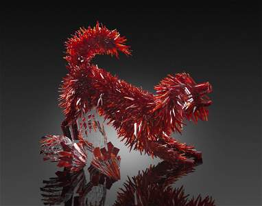 Marta Klonowska Red Dog & 4 Shoes Art Glass Habatat