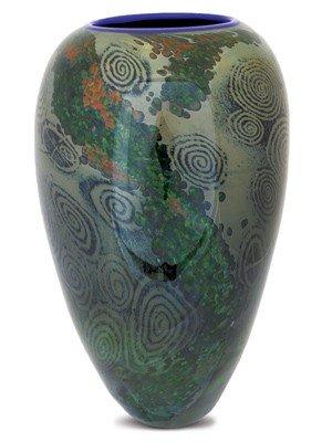 """23: William Morris """"Green Glass Vase"""" '86 Glass Art"""