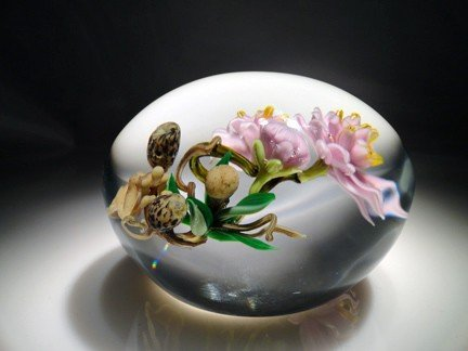 """22: Paul Stankard """"Floral weight with figures"""""""