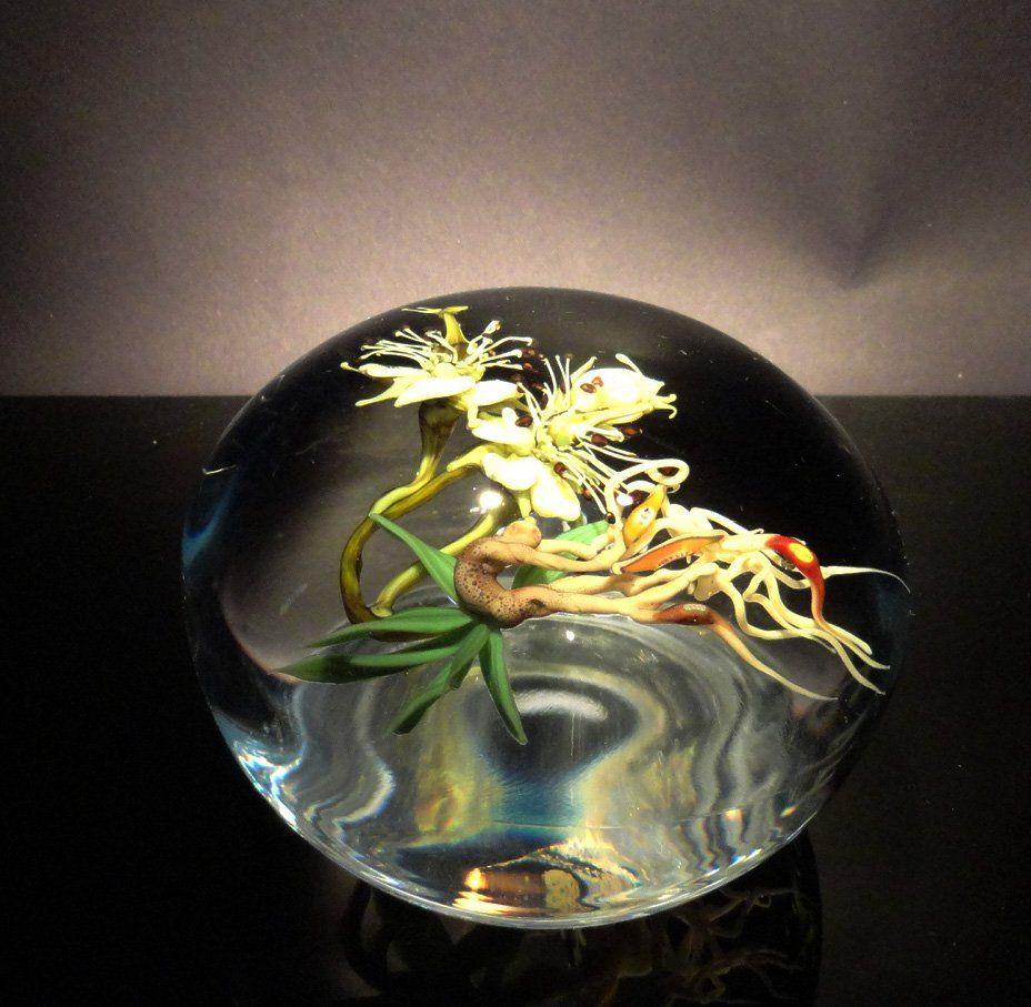 Paul Stankard 'Untitled' green flower with figure
