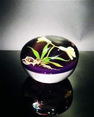 Paul Stankard 'Untitled' light purple with flowers