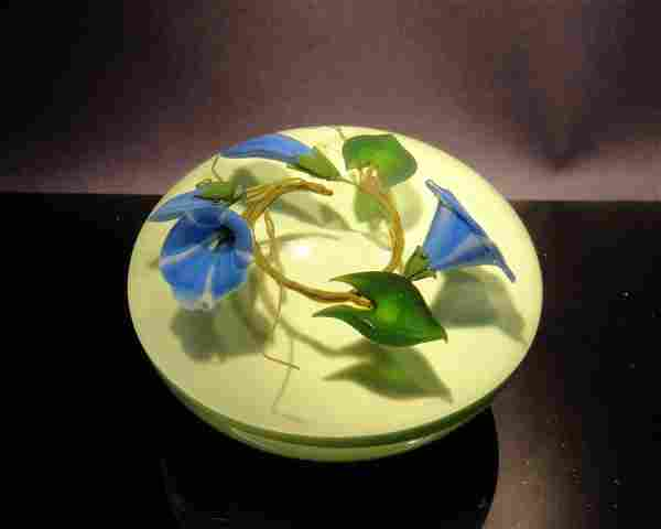 Paul Stankard 'Untitled' three blue flowers in a ci