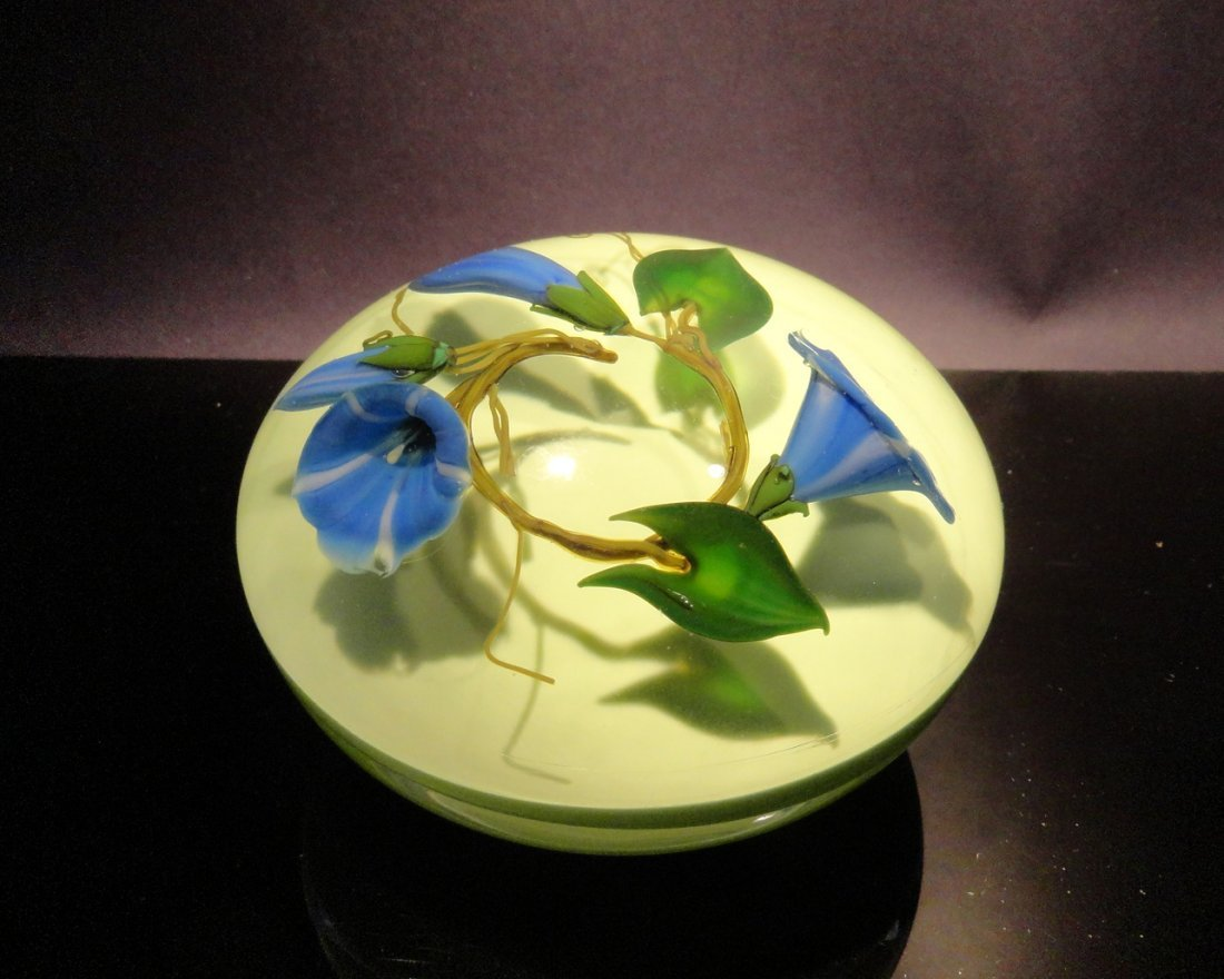 16: Paul Stankard 'Untitled' three blue flowers in a ci