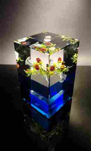 Paul Stankard 'Untitled' cube with blue bottom