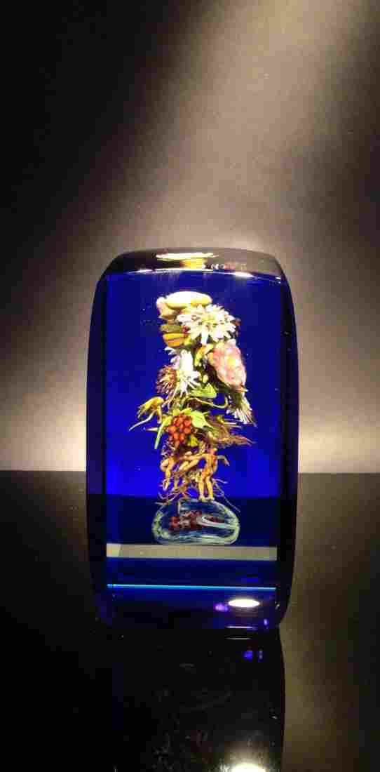 Paul Stankard 'Untitled' cube with flower bundle on