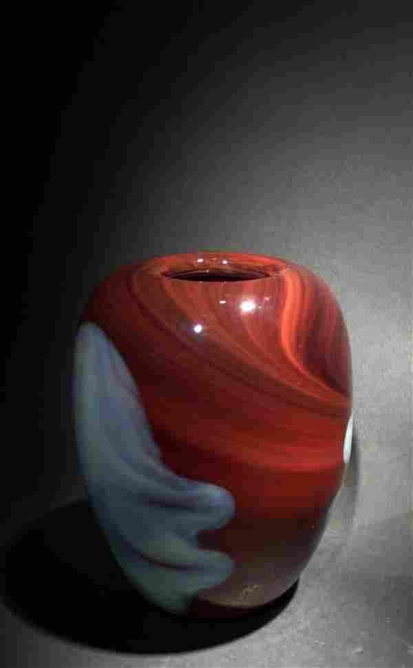 Dominick Labino 'Untitled' dark burgundy vase