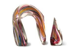 Harvey Littleton Red&Blue Twisted Arc 1985 Glass