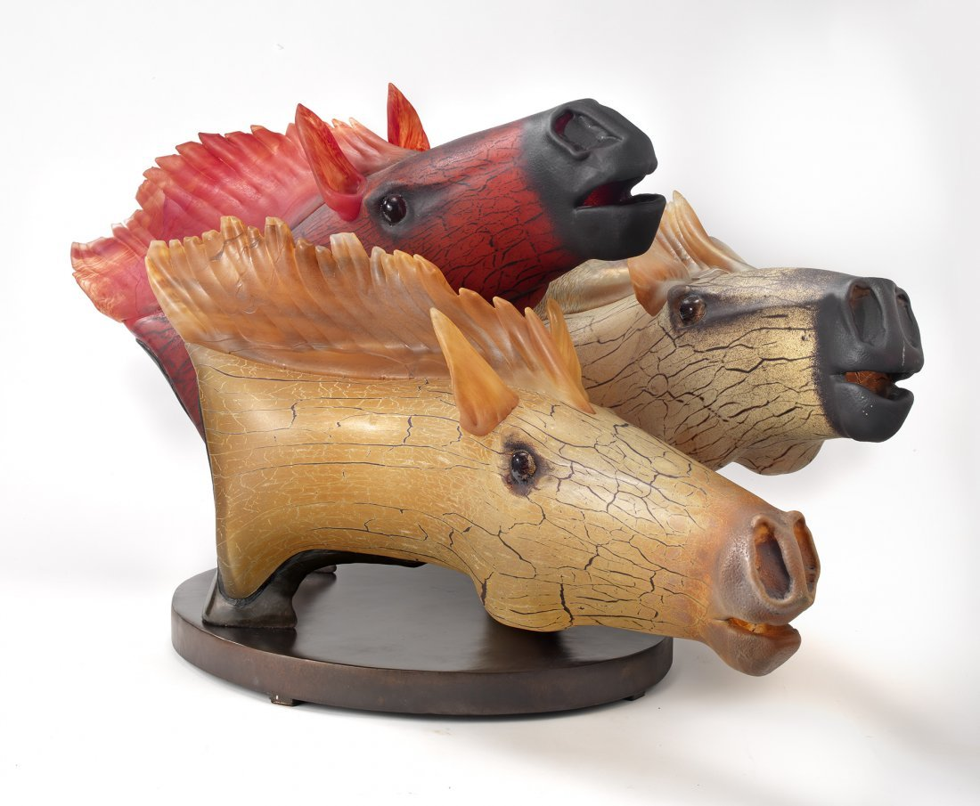 Habatat David Bennett Three Horse Race, Glass Art