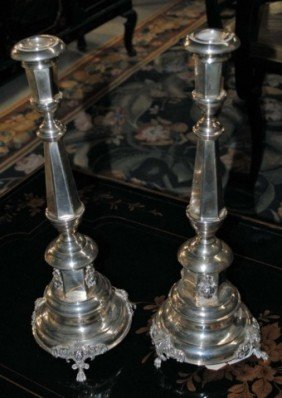 3: Pair of Continental Silver Candlesticks , 32 oz.