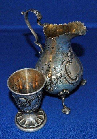 13: Victorian Sterling Silver Creamer & Cordial