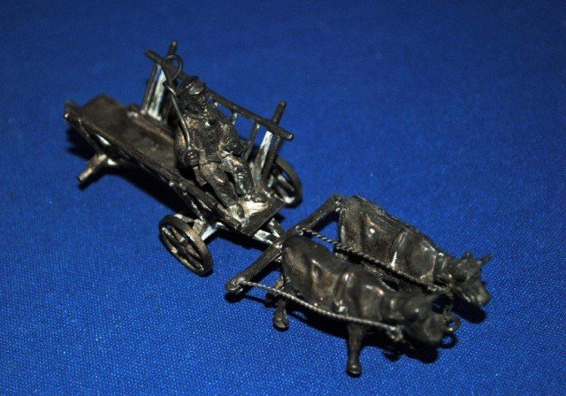 14: Silver Miniature Ox Drawn Carriage