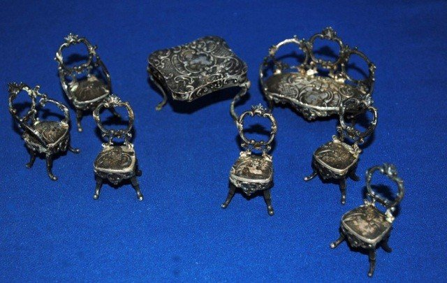 16: Collection of Silver Miniature Furnishings