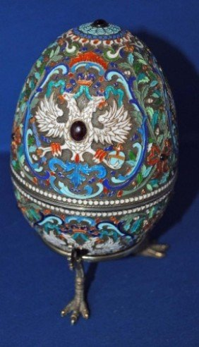 19: Russian Enameled Silver Egg on Stand
