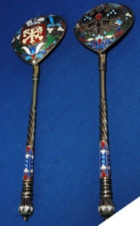 Pair (2) Russian Silver Spoons