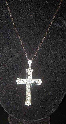 25: Platinum Diamond Cross on 14K White Gold Chain