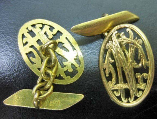 30: Pair of Egyptian 18K Gold Cufflinks