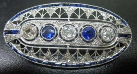 14K White Gold Deco Style Brooch