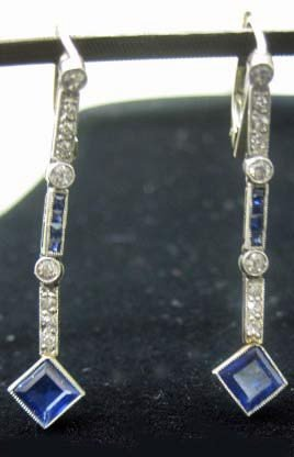 34: Pair of White Gold Sapphire Drop Earrings