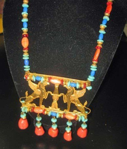 38: Miriam Haskell Egyptian Revival Style Necklace