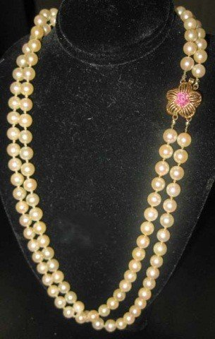 42: Double Strand Pearl Necklace