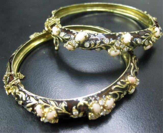 47: Pair of Enameled 14K Gold Bangle Bracelets