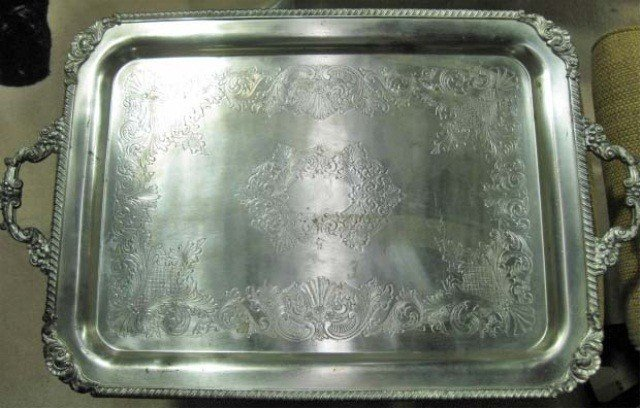 21: Silver Plated 2 Handled Coffee Tray