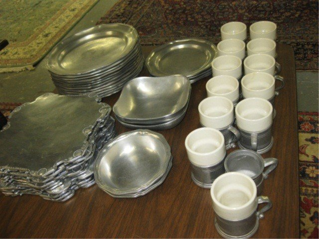 22: 45 Piece Collection of Pewter Tableware